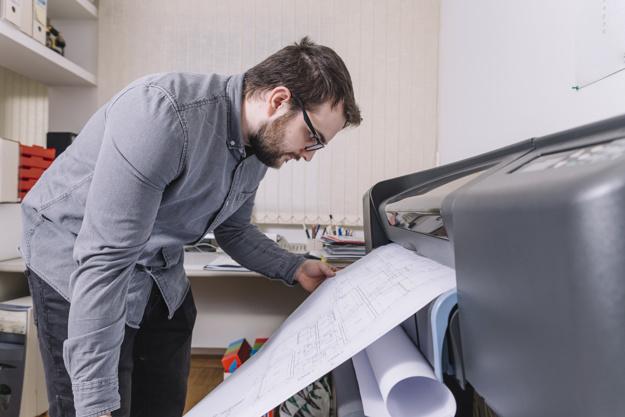 side view architect printing drafts 23 2147785520 - برش